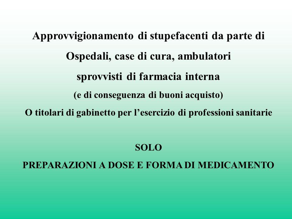 Approvvigionamento di stupefacenti da parte di Ospedali, case di cura, ambulatori sprovvisti di farmacia interna (e di conseguenza di buoni acquisto)