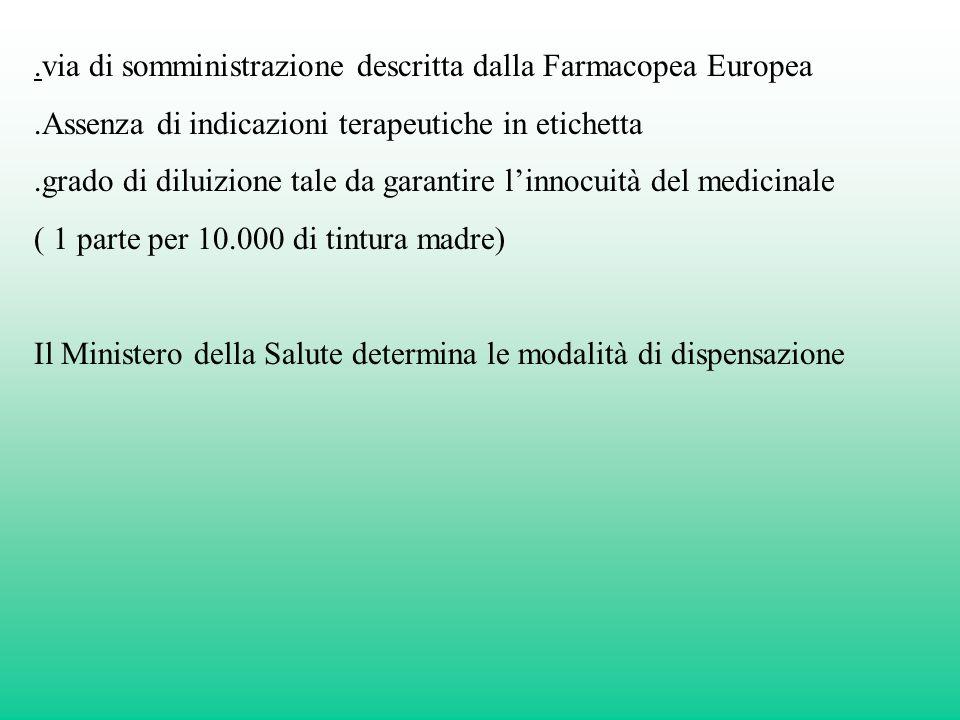 .via di somministrazione descritta dalla Farmacopea Europea.Assenza di indicazioni terapeutiche in etichetta.grado di diluizione tale da garantire lin