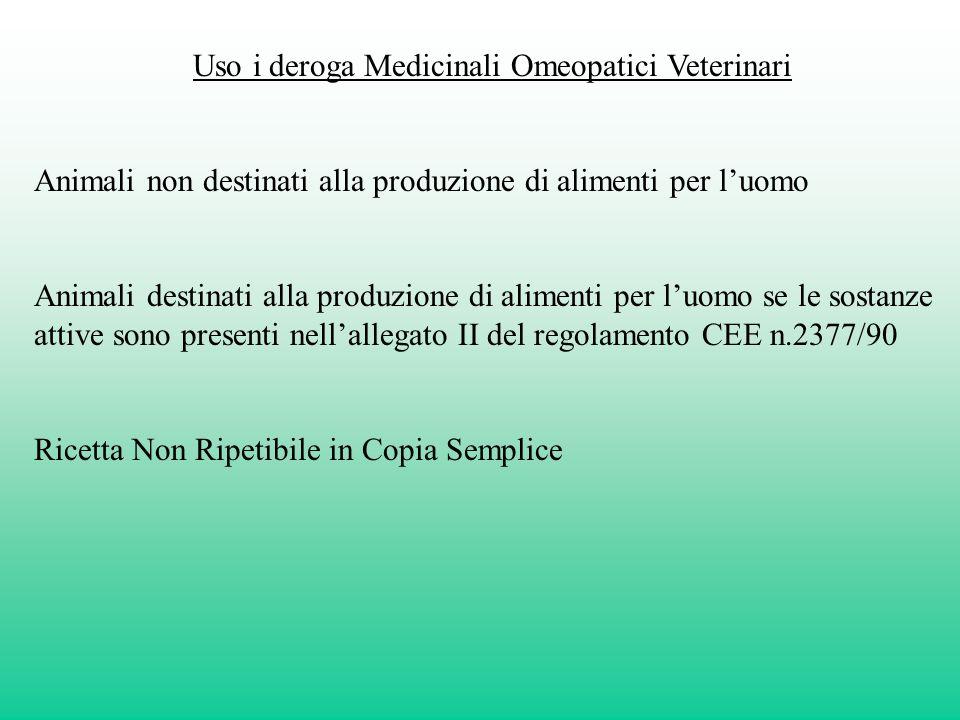 Uso i deroga Medicinali Omeopatici Veterinari Animali non destinati alla produzione di alimenti per luomo Animali destinati alla produzione di aliment