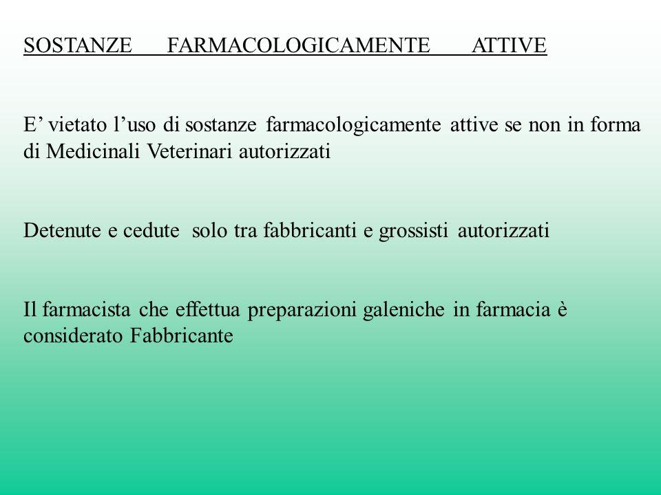 SOSTANZE FARMACOLOGICAMENTE ATTIVE E vietato luso di sostanze farmacologicamente attive se non in forma di Medicinali Veterinari autorizzati Detenute