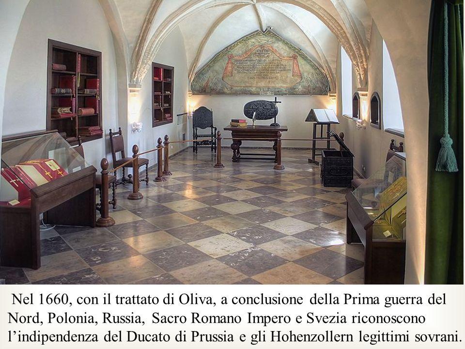Nel 1660, con il trattato di Oliva, a conclusione della Prima guerra del Nord, Polonia, Russia, Sacro Romano Impero e Svezia riconoscono lindipendenza