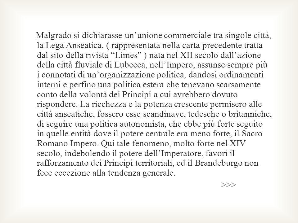 Malgrado si dichiarasse ununione commerciale tra singole città, la Lega Anseatica, ( rappresentata nella carta precedente tratta dal sito della rivist