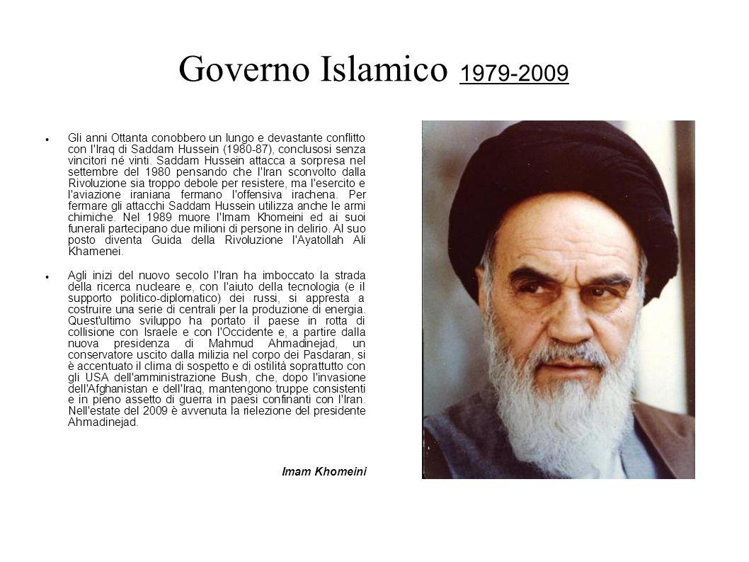 Governo Islamico 1979-2009 Gli anni Ottanta conobbero un lungo e devastante conflitto con l'Iraq di Saddam Hussein (1980-87), conclusosi senza vincito