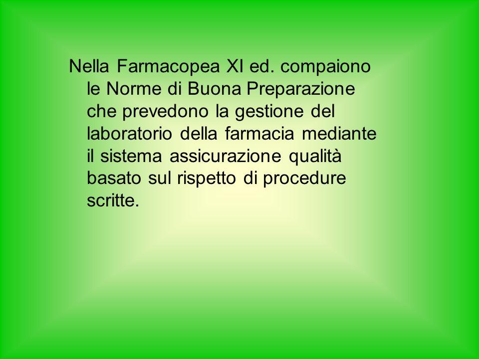 Nella Farmacopea XI ed. compaiono le Norme di Buona Preparazione che prevedono la gestione del laboratorio della farmacia mediante il sistema assicura