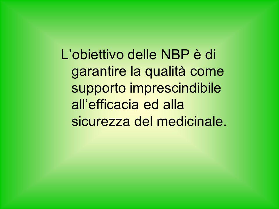 Lobiettivo delle NBP è di garantire la qualità come supporto imprescindibile allefficacia ed alla sicurezza del medicinale.