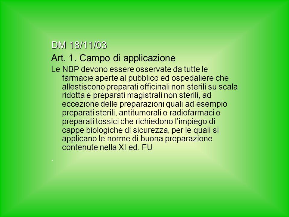 DM 18/11/03 Art. 1. Campo di applicazione Le NBP devono essere osservate da tutte le farmacie aperte al pubblico ed ospedaliere che allestiscono prepa