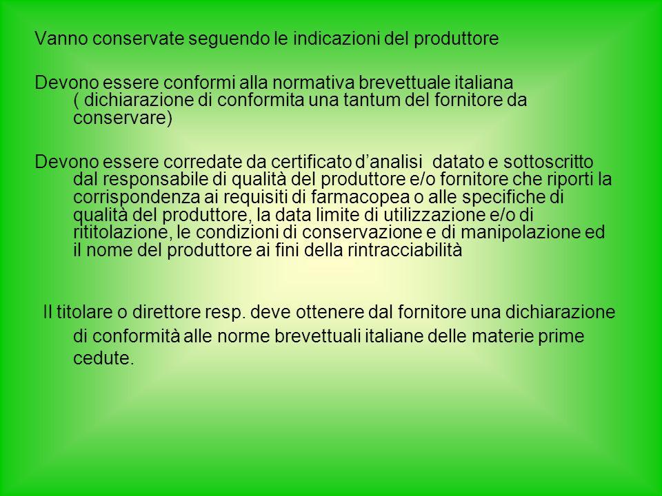 Vanno conservate seguendo le indicazioni del produttore Devono essere conformi alla normativa brevettuale italiana ( dichiarazione di conformita una t
