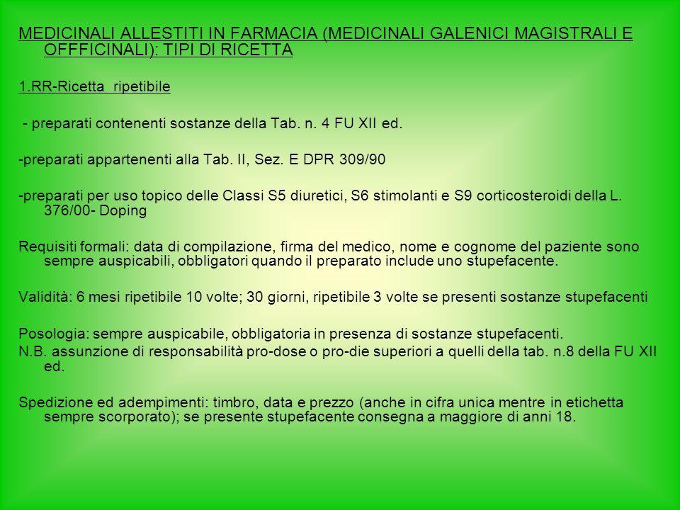 MEDICINALI ALLESTITI IN FARMACIA (MEDICINALI GALENICI MAGISTRALI E OFFFICINALI): TIPI DI RICETTA 1.RR-Ricetta ripetibile - preparati contenenti sostanze della Tab.
