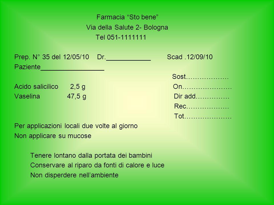 Farmacia Sto bene Via della Salute 2- Bologna Tel 051-1111111 Prep. N° 35 del 12/05/10 Dr.____________ Scad.12/09/10 Paziente_________________ Sost………