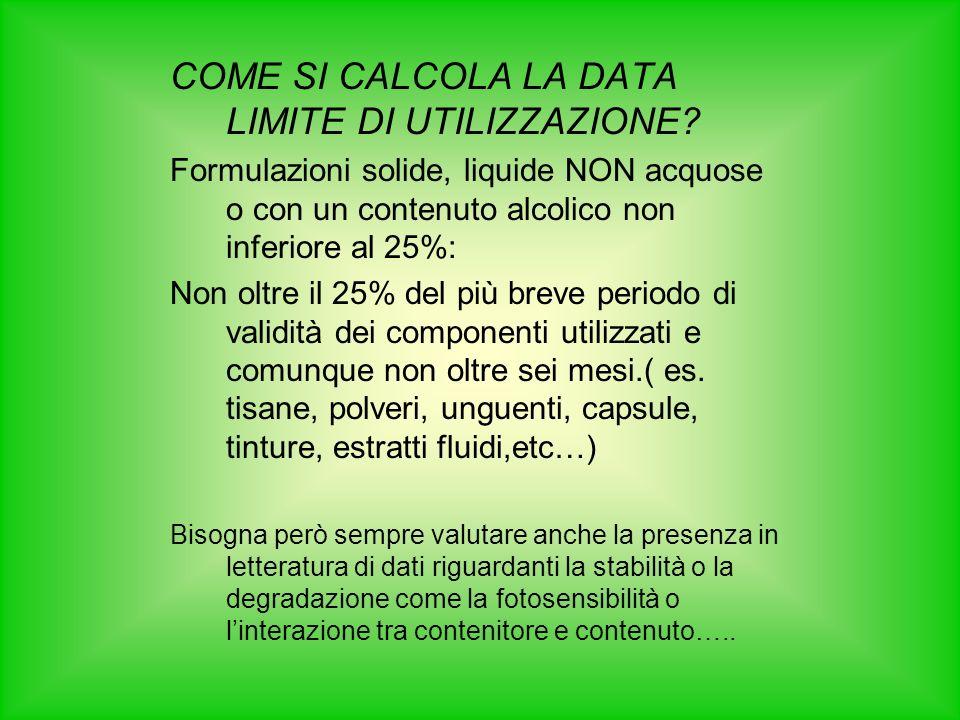 COME SI CALCOLA LA DATA LIMITE DI UTILIZZAZIONE.