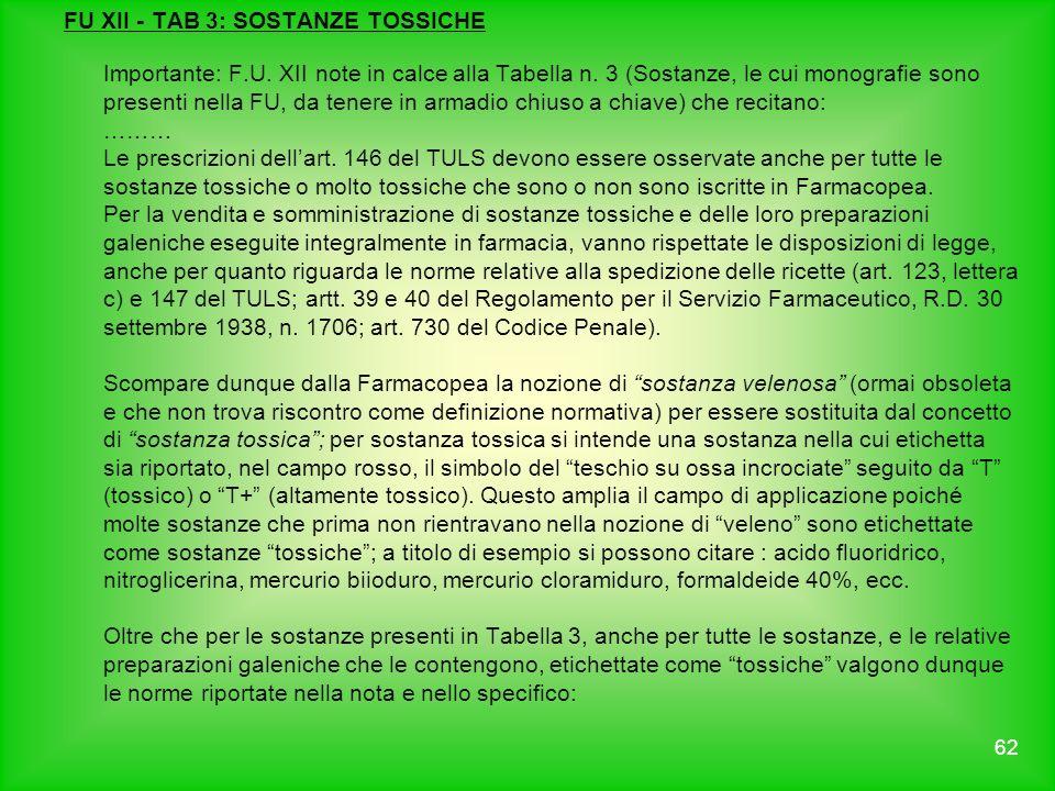 FU XII - TAB 3: SOSTANZE TOSSICHE Importante: F.U. XII note in calce alla Tabella n. 3 (Sostanze, le cui monografie sono presenti nella FU, da tenere