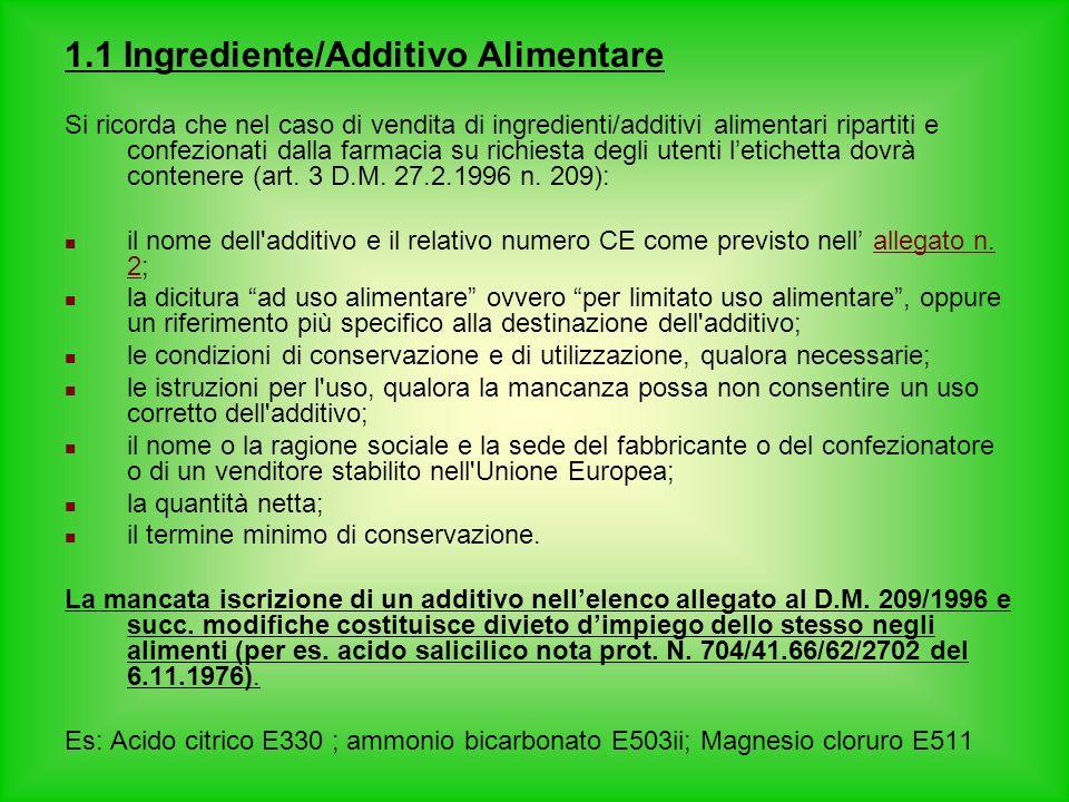 1.1 Ingrediente/Additivo Alimentare Si ricorda che nel caso di vendita di ingredienti/additivi alimentari ripartiti e confezionati dalla farmacia su r