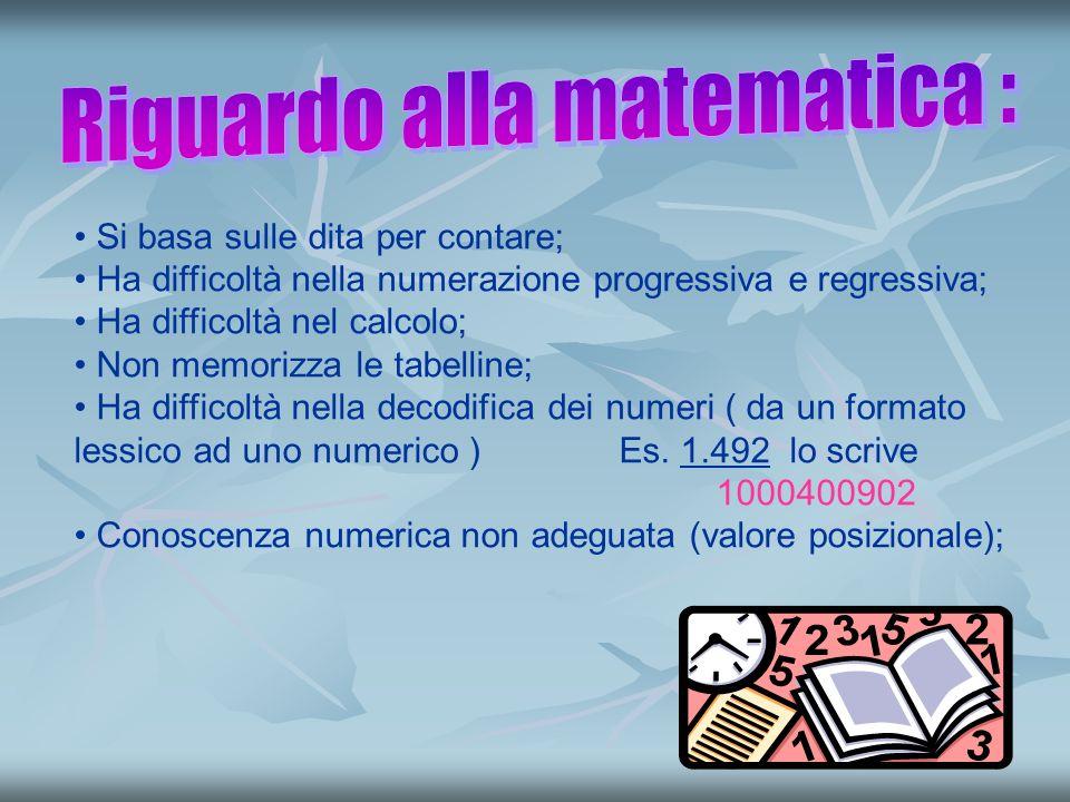 7 Si basa sulle dita per contare; Ha difficoltà nella numerazione progressiva e regressiva; Ha difficoltà nel calcolo; Non memorizza le tabelline; Ha difficoltà nella decodifica dei numeri ( da un formato lessico ad uno numerico ) Es.