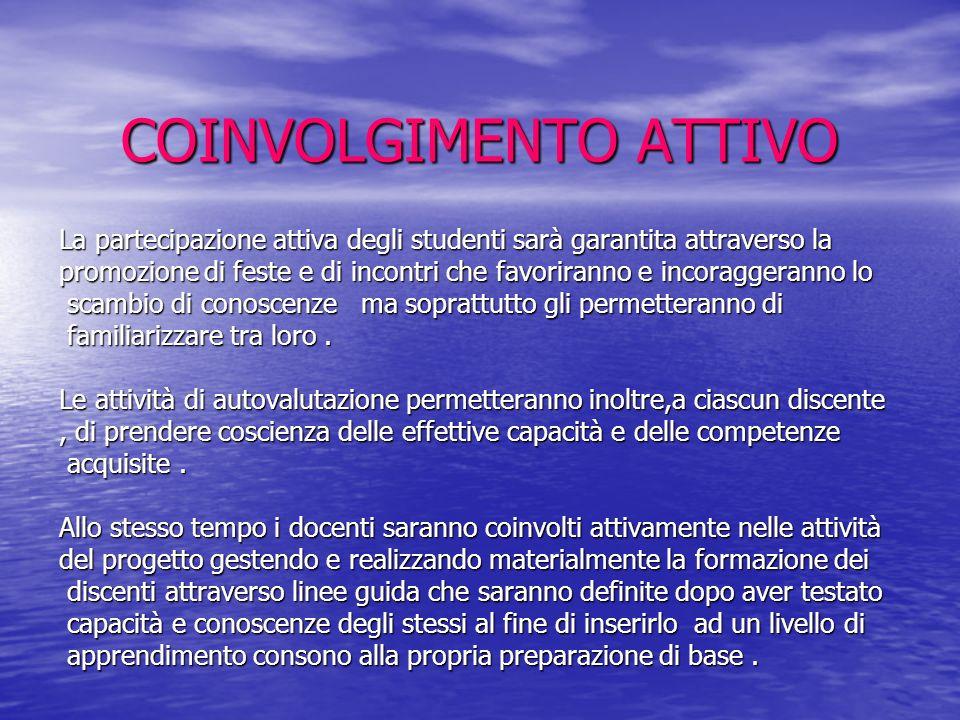 COINVOLGIMENTO ATTIVO La partecipazione attiva degli studenti sarà garantita attraverso la promozione di feste e di incontri che favoriranno e incorag