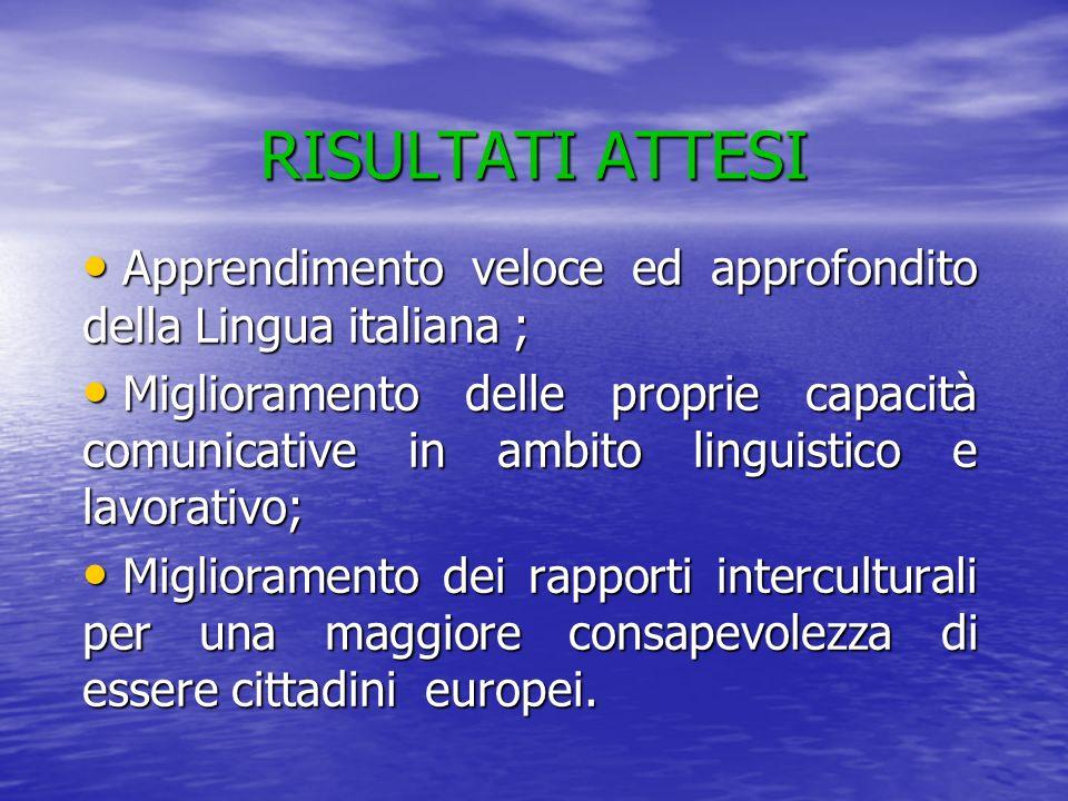 RISULTATI ATTESI Apprendimento veloce ed approfondito della Lingua italiana ; Apprendimento veloce ed approfondito della Lingua italiana ; Miglioramen