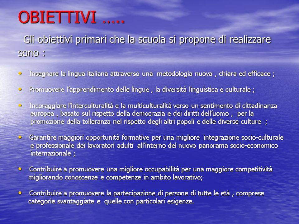 OBIETTIVI ….. Gli obiettivi primari che la scuola si propone di realizzare sono : Insegnare la lingua italiana attraverso una metodologia nuova, chiar