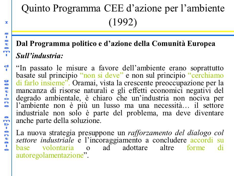 Quinto Programma CEE dazione per lambiente (1992) Dal Programma politico e dazione della Comunità Europea Sullindustria: In passato le misure a favore dellambiente erano soprattutto basate sul principio non si deve e non sul principio cerchiamo di farlo insieme.