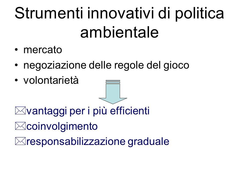 Strumenti innovativi di politica ambientale mercato negoziazione delle regole del gioco volontarietà *vantaggi per i più efficienti *coinvolgimento *responsabilizzazione graduale