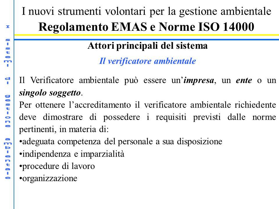 I nuovi strumenti volontari per la gestione ambientale Regolamento EMAS e Norme ISO 14000 Attori principali del sistema Il verificatore ambientale Il Verificatore ambientale può essere unimpresa, un ente o un singolo soggetto.