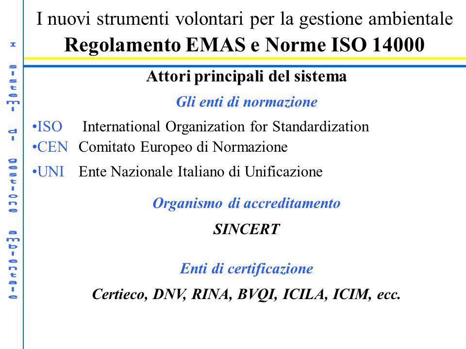 I nuovi strumenti volontari per la gestione ambientale Regolamento EMAS e Norme ISO 14000 Attori principali del sistema Gli enti di normazione ISO International Organization for Standardization CENComitato Europeo di Normazione UNIEnte Nazionale Italiano di Unificazione Organismo di accreditamento SINCERT Enti di certificazione Certieco, DNV, RINA, BVQI, ICILA, ICIM, ecc.