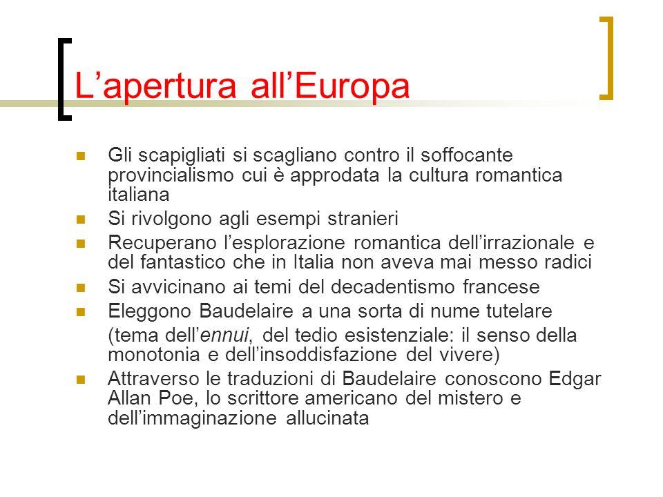 Lapertura allEuropa Gli scapigliati si scagliano contro il soffocante provincialismo cui è approdata la cultura romantica italiana Si rivolgono agli e
