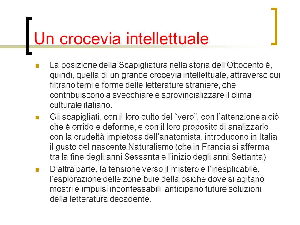 Un crocevia intellettuale La posizione della Scapigliatura nella storia dellOttocento è, quindi, quella di un grande crocevia intellettuale, attravers