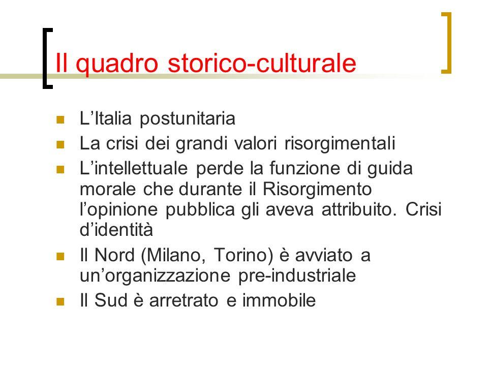 Il quadro storico-culturale LItalia postunitaria La crisi dei grandi valori risorgimentali Lintellettuale perde la funzione di guida morale che durant