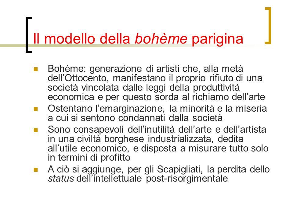 Il modello della bohème parigina Bohème: generazione di artisti che, alla metà dellOttocento, manifestano il proprio rifiuto di una società vincolata