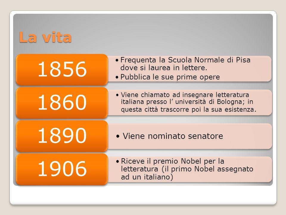 La vita Frequenta la Scuola Normale di Pisa dove si laurea in lettere. Pubblica le sue prime opere 1856 Viene chiamato ad insegnare letteratura italia