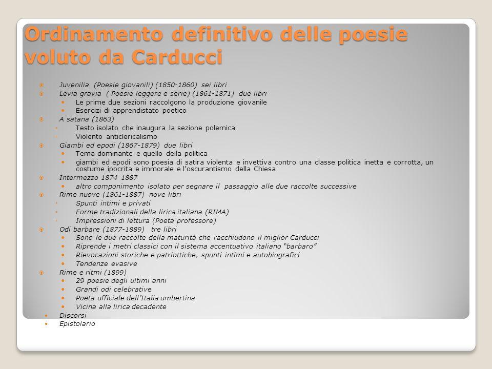 Ordinamento definitivo delle poesie voluto da Carducci Juvenilia (Poesie giovanili) (1850-1860) sei libri Levia gravia ( Poesie leggere e serie) (1861