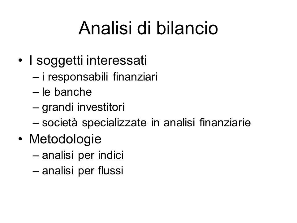 Analisi di bilancio I soggetti interessati –i responsabili finanziari –le banche –grandi investitori –società specializzate in analisi finanziarie Metodologie –analisi per indici –analisi per flussi