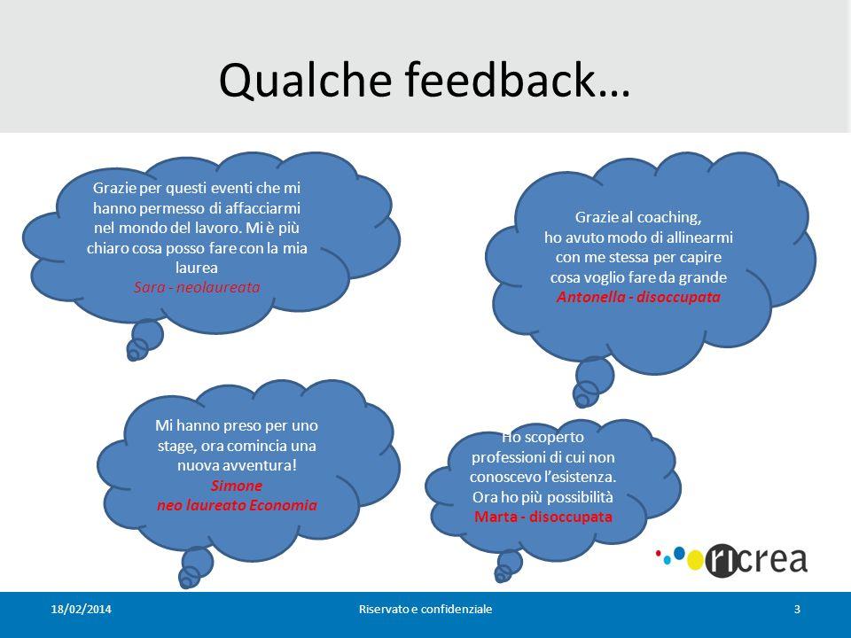 Qualche feedback… 18/02/2014Riservato e confidenziale3 Grazie per questi eventi che mi hanno permesso di affacciarmi nel mondo del lavoro.