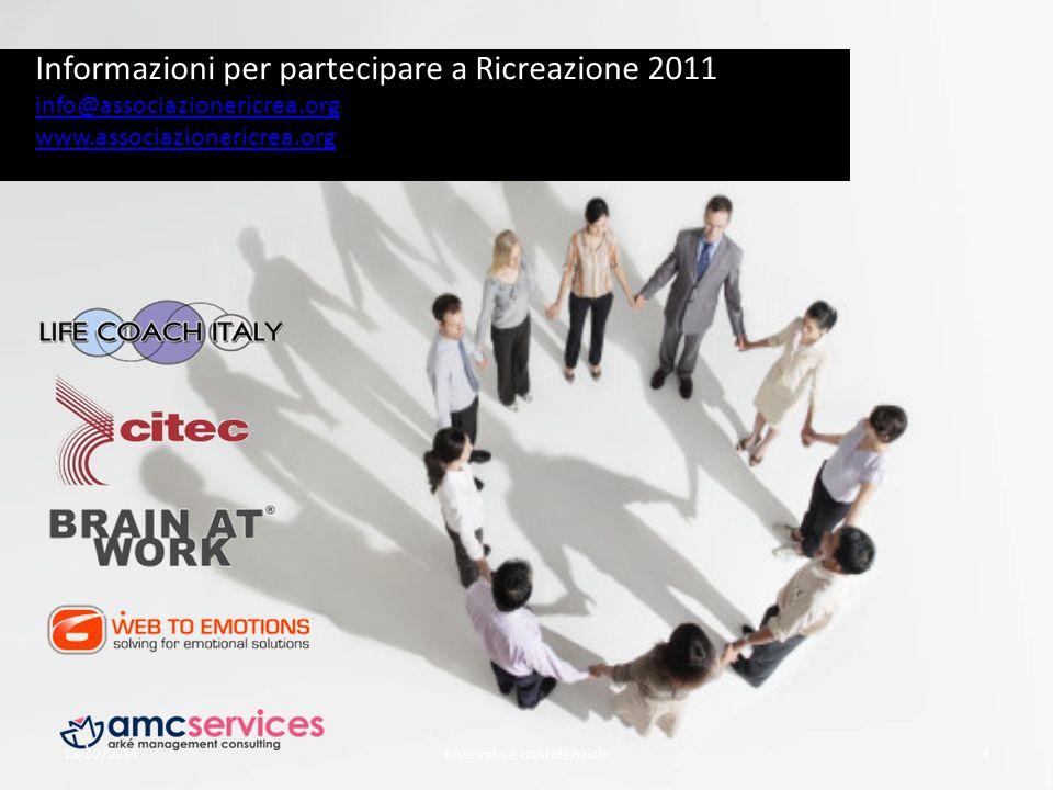 18/02/2014Riservato e confidenziale4 Informazioni per partecipare a Ricreazione 2011 info@associazionericrea.org www.associazionericrea.org