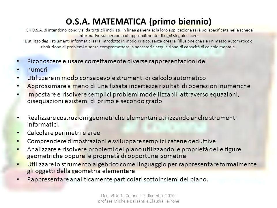 O.S.A. MATEMATICA (primo biennio) Gli O.S.A. si intendono condivisi da tutti gli indirizzi, in linea generale; la loro applicazione sarà poi specifica