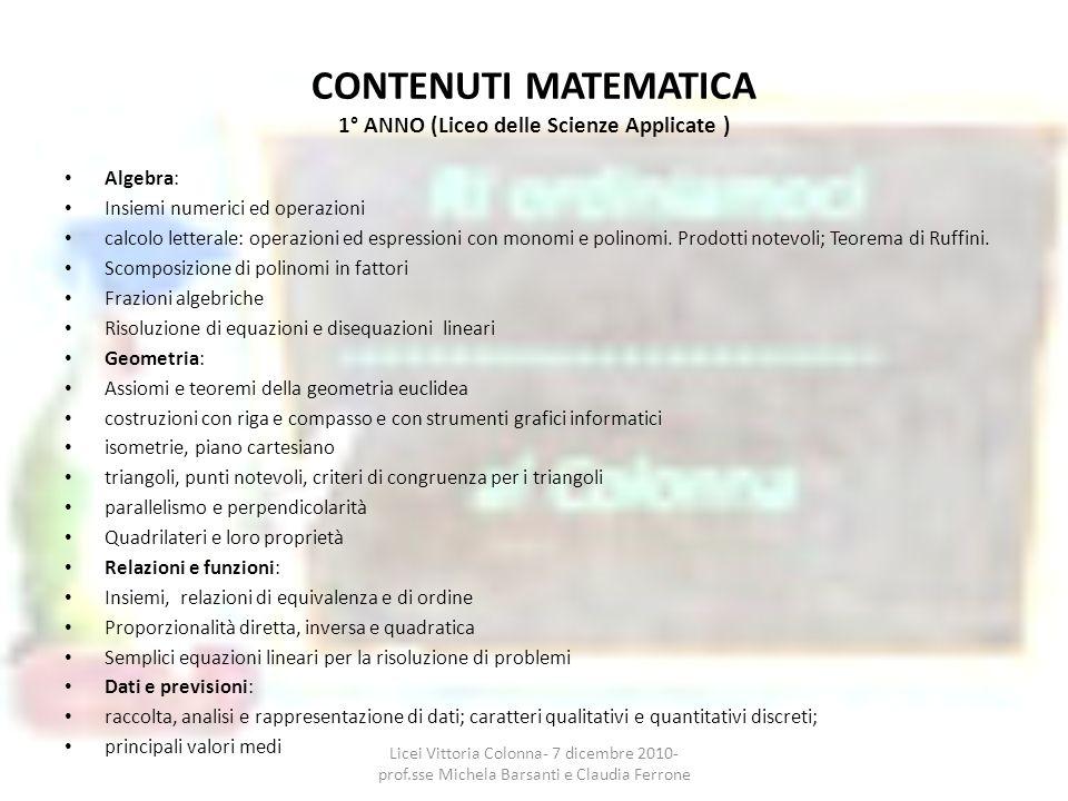 CONTENUTI MATEMATICA 1° ANNO (Liceo delle Scienze Applicate ) Algebra: Insiemi numerici ed operazioni calcolo letterale: operazioni ed espressioni con