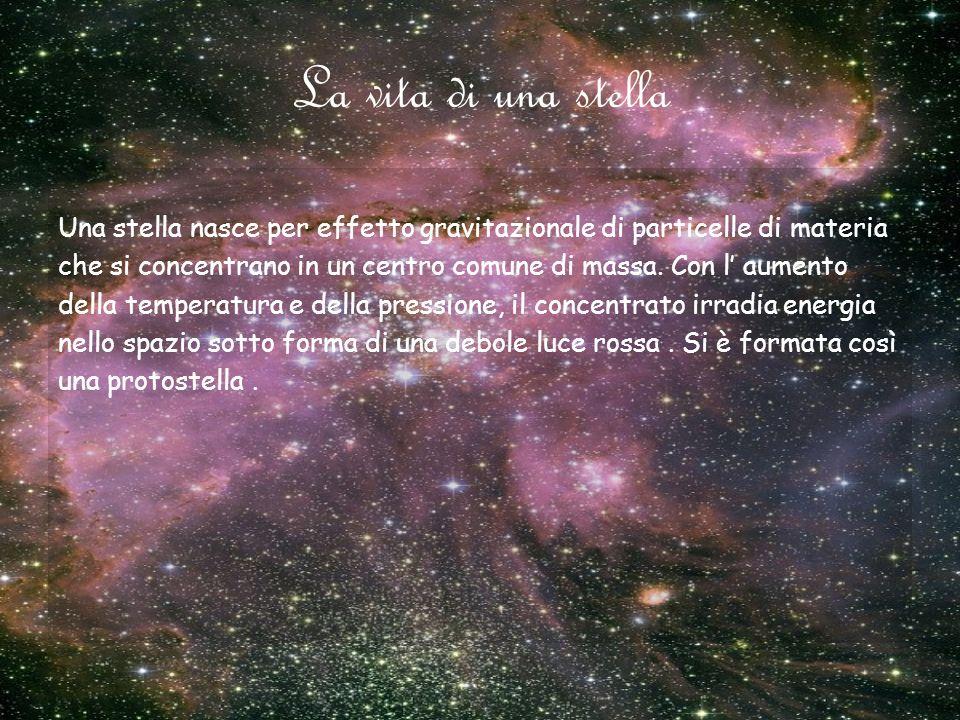 La vita di una stella Una stella nasce per effetto gravitazionale di particelle di materia che si concentrano in un centro comune di massa. Con l aume