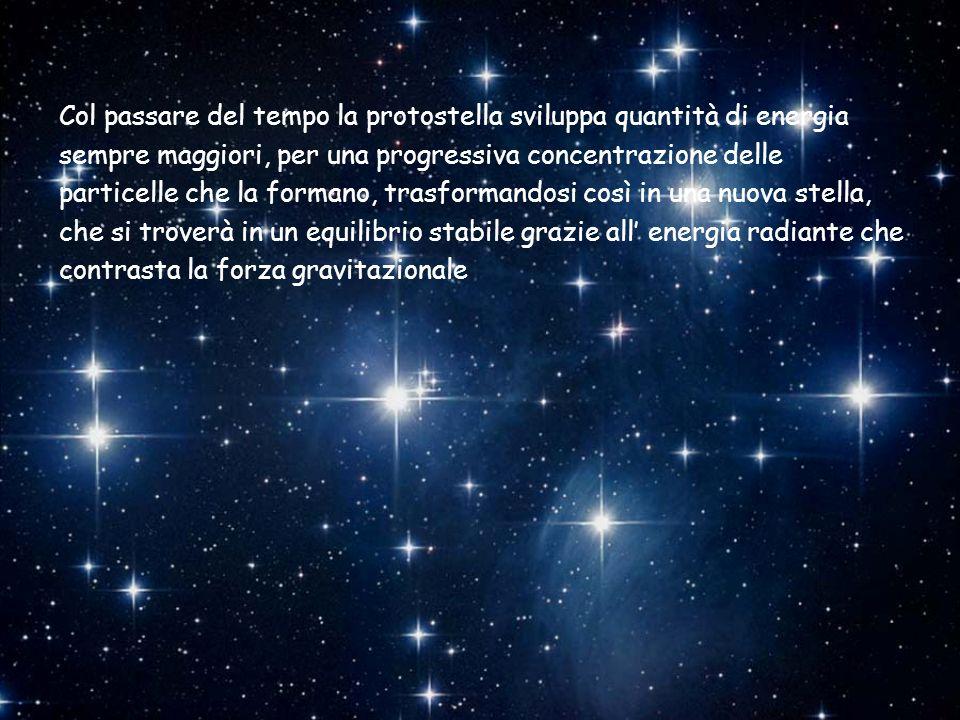 Col passare del tempo la protostella sviluppa quantità di energia sempre maggiori, per una progressiva concentrazione delle particelle che la formano,