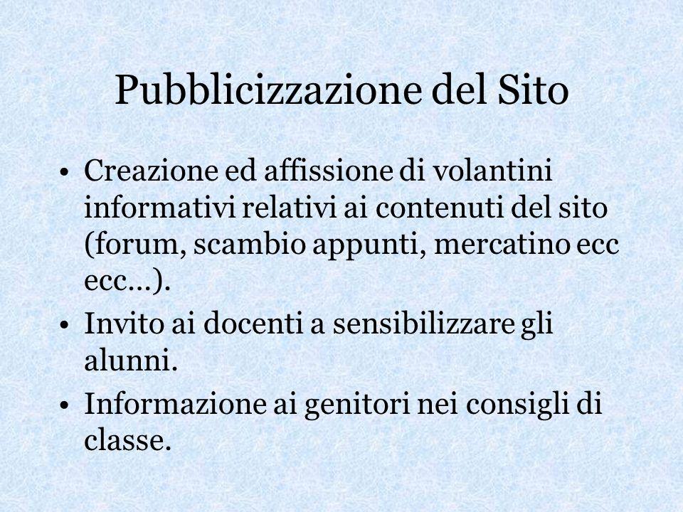 Pubblicizzazione del Sito Creazione ed affissione di volantini informativi relativi ai contenuti del sito (forum, scambio appunti, mercatino ecc ecc…).
