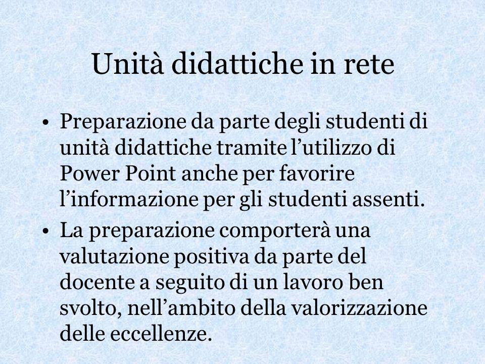 Unità didattiche in rete Preparazione da parte degli studenti di unità didattiche tramite lutilizzo di Power Point anche per favorire linformazione per gli studenti assenti.
