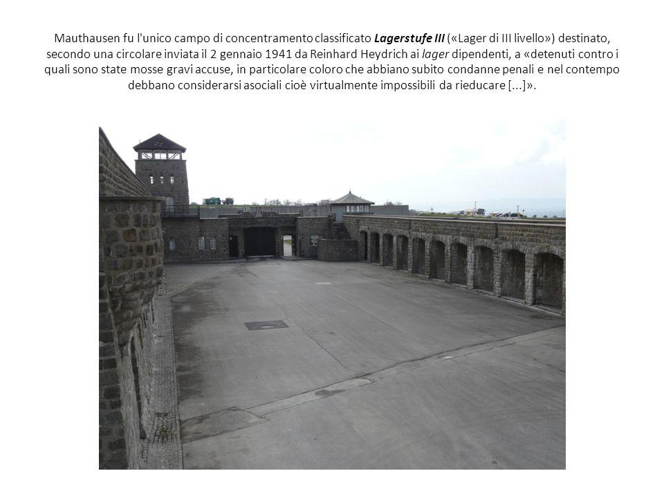 Mauthausen fu l'unico campo di concentramento classificato Lagerstufe III («Lager di III livello») destinato, secondo una circolare inviata il 2 genna