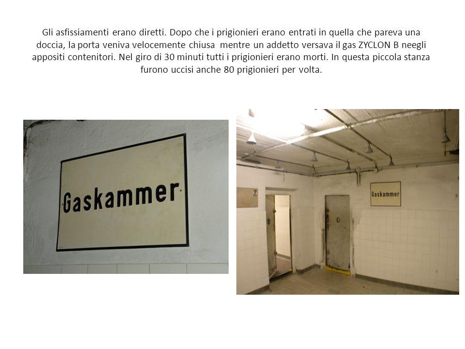 Gli asfissiamenti erano diretti. Dopo che i prigionieri erano entrati in quella che pareva una doccia, la porta veniva velocemente chiusa mentre un ad