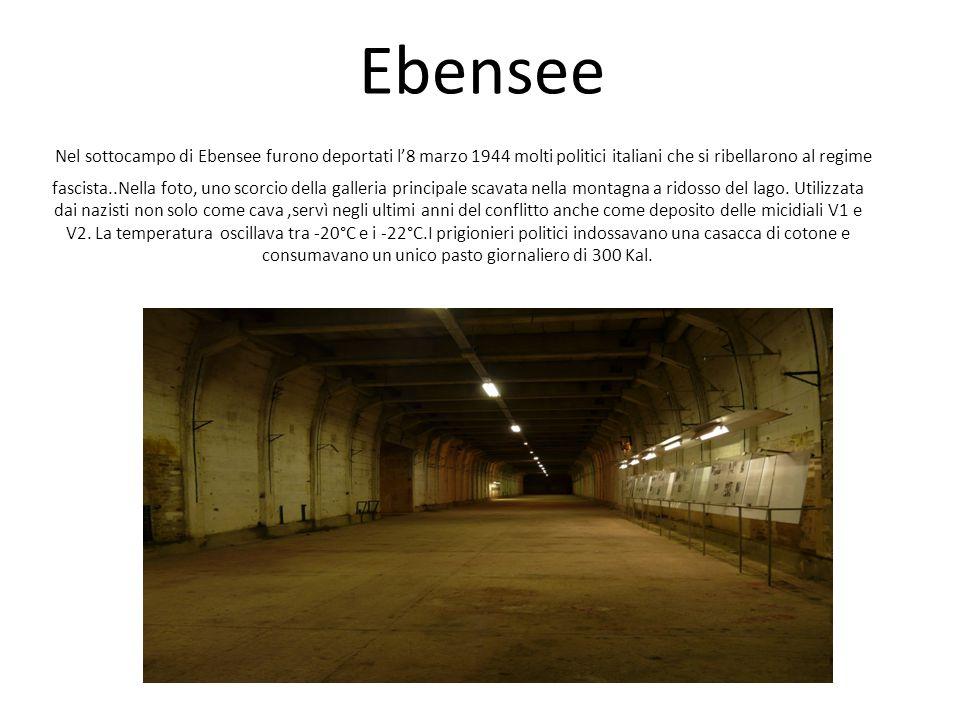 Ebensee Nel sottocampo di Ebensee furono deportati l8 marzo 1944 molti politici italiani che si ribellarono al regime fascista..Nella foto, uno scorci