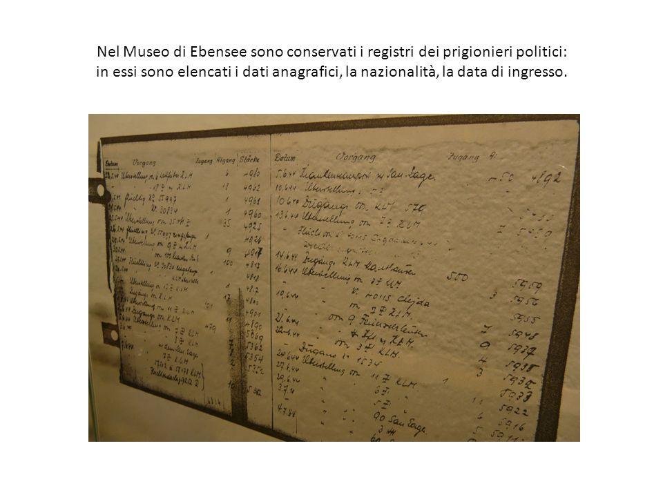 Nel Museo di Ebensee sono conservati i registri dei prigionieri politici: in essi sono elencati i dati anagrafici, la nazionalità, la data di ingresso