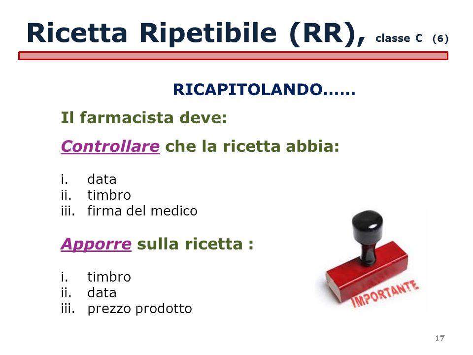 RICAPITOLANDO…… Il farmacista deve: Controllare che la ricetta abbia: i.data ii.timbro iii.firma del medico Apporre sulla ricetta : i.timbro ii.data i