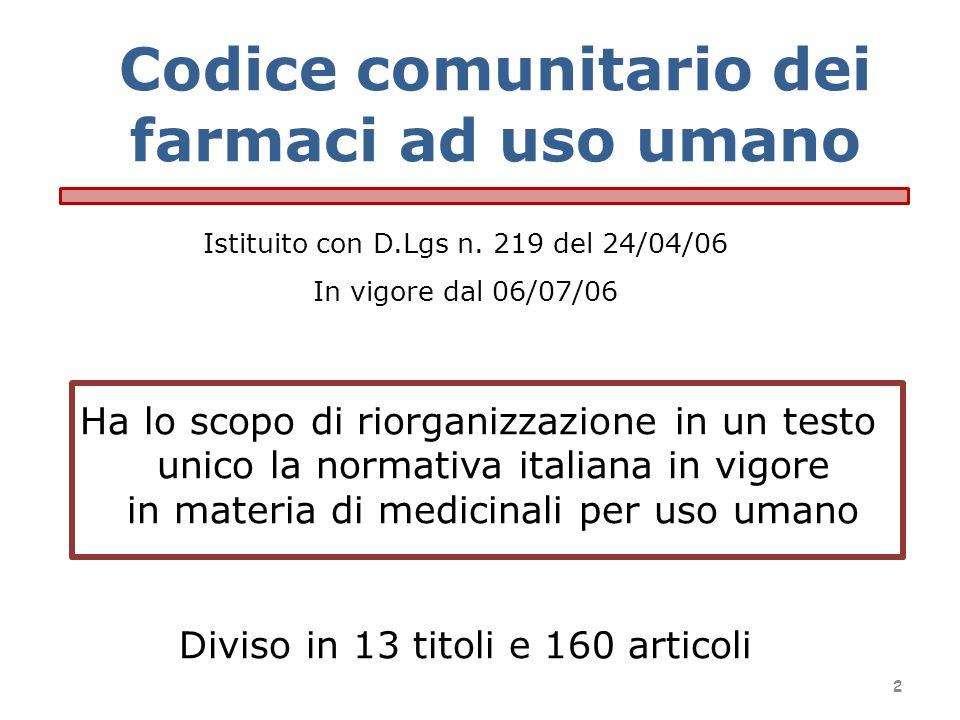 Istituito con D.Lgs n. 219 del 24/04/06 In vigore dal 06/07/06 Ha lo scopo di riorganizzazione in un testo unico la normativa italiana in vigore in ma