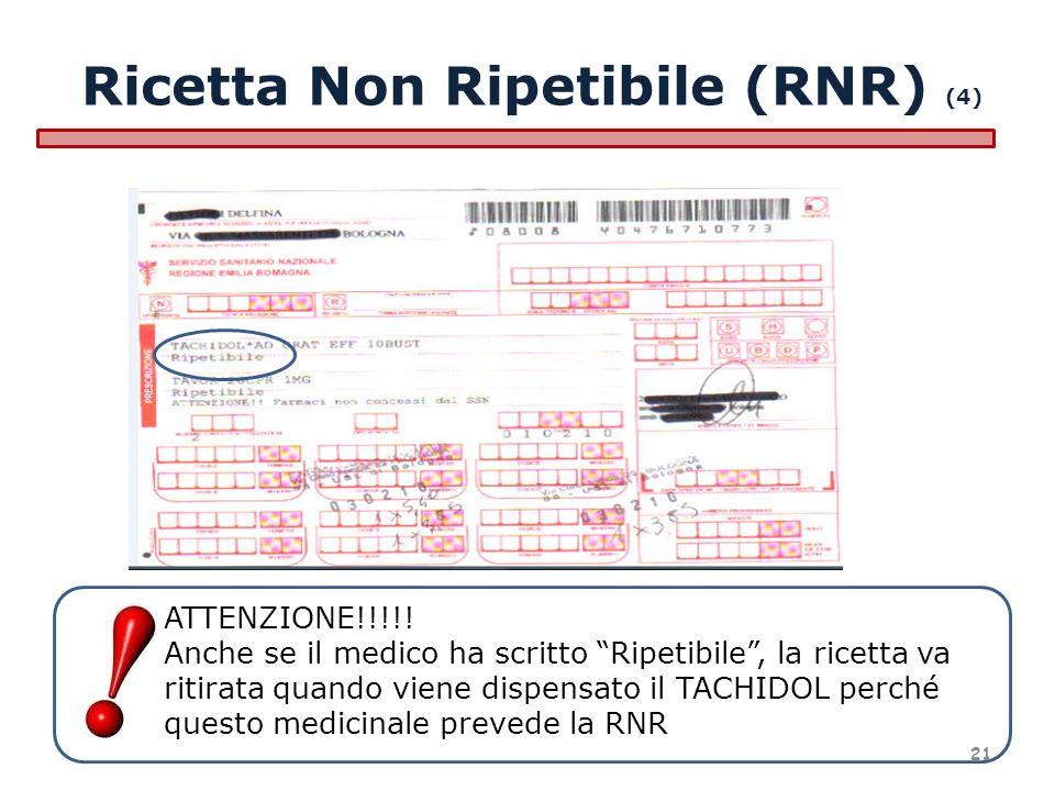 ATTENZIONE!!!!! Anche se il medico ha scritto Ripetibile, la ricetta va ritirata quando viene dispensato il TACHIDOL perché questo medicinale prevede
