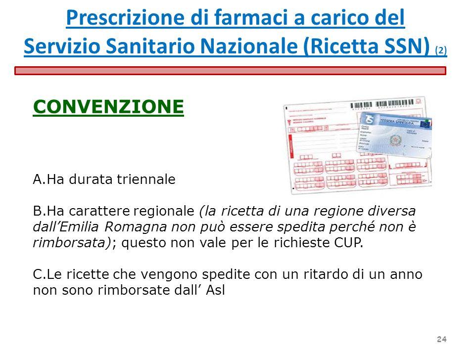 CONVENZIONE A.Ha durata triennale B.Ha carattere regionale (la ricetta di una regione diversa dallEmilia Romagna non può essere spedita perché non è r