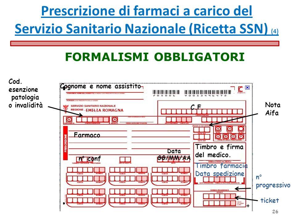 Cognome e nome assistito Data GG/MM/AA EMILIA ROMAGNA Cod. esenzione patologia o invalidità ticket C.F. Timbro e firma del medico. Timbro farmacia Dat