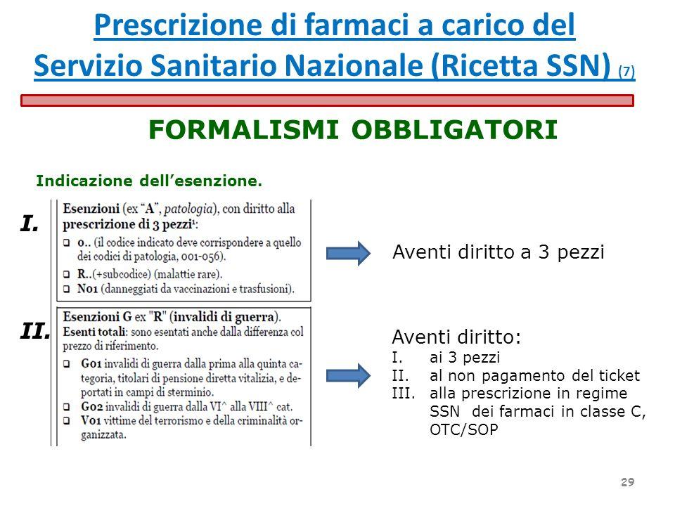 Indicazione dellesenzione. FORMALISMI OBBLIGATORI Aventi diritto a 3 pezzi Aventi diritto: I.ai 3 pezzi II.al non pagamento del ticket III.alla prescr