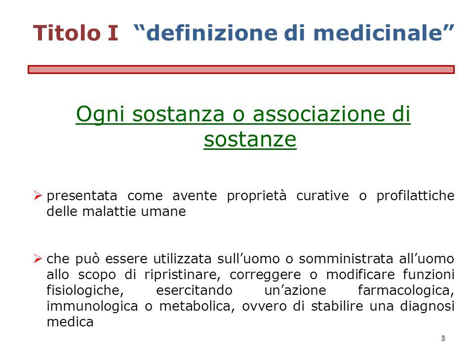 Titolo I definizione di medicinale Ogni sostanza o associazione di sostanze presentata come avente proprietà curative o profilattiche delle malattie u